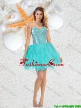 Cheap Sweetheart Beaded and Ruffles Dama Dresses in Aqua Blue QDDTA75003FOR