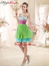 Cheap Sweetheart Short Dama Dresses with Sequins and Belt BMT002E-9FOR