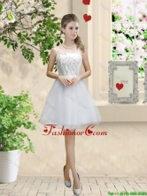 Classical Appliques and Beaded White Dama Dresses with Strapless BMT057CFOR