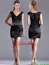 Classical V Neck Satin and Lace Dama Dress with Cap Sleeves THPD205FOR