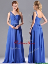 Column Chiffon Beading and Ruching Blue Dama Dress with One Shoulder  THPD272FOR