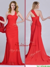 Column One Shoulder Watteau Train Coral Red Dama Dress with Side Zipper THPD297FOR