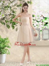 Comfortable Strapless Champagne Dama Dresses with Knee Length BMT043FFOR