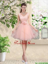 Decent V Neck Baby Pink Dama Dresses with Hand Made Flowers BMT042AFOR