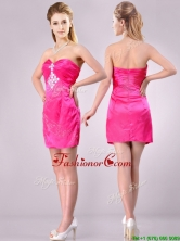 Discount Applique with Beading and Rhinestoned Dama Dress in Hot Pink THPD218FOR