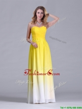 Discount Empire Sweetheart Ruched Long Dama Dress in Gradient Color THPD062FOR