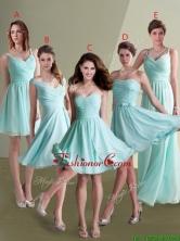 Elegant Empire Ruched Decorated Chiffon Dama Dress in Aqua Blue BMT086FOR