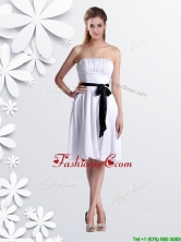 Elegant Empire Strapless Ruched and Be-ribboned White Dama Dress in Chiffon THPD001FOR