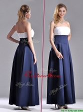 Elegant Strapless Ankle Length Dama Dress in Navy Blue and White THPD106FOR