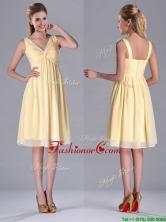 Empire Light Yellow V Neck Knee Length Short Dama Dress with Ruching THPD264FOR