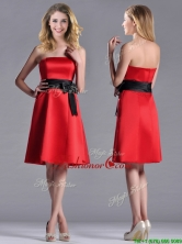 Exclusive Empire Satin Knee Length Dama Dress with Black Bowknot THPD007FOR