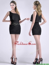 Exquisite Column Scoop Black Dama Dress with Appliques and Ruching THPD054FOR