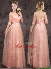 Exquisite See Through Applique and Laced Long Dama Dress in Peach BMT0160-1FOR