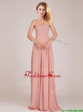 Fashionable Empire Chiffon Ruched Long Dama Dress in Peach  BMT0166AFOR