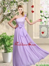Fashionable One Shoulder Dama Dresses with Hand Made Flowers BMT046FFOR