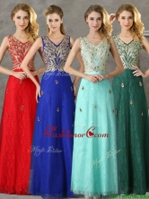 Fashionable V Neck Long Dama Dress with Appliques and Beading BMT0139FOR