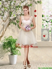 Feminine A Line Hand Made Flowers Dama Dresses in Champagne BMT035CFOR