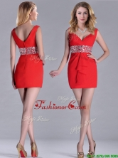 Hot Sale Beaded Decorated Waist V Neck Dama Dress in Red THPD125FOR