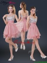 Hot Sale Mini-length  Straps Paillette Dama Dresses for 2016 BMT072BFOR