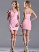 Latest Column Halter Top Dama Dress with Beading and Ruching THPD226FOR