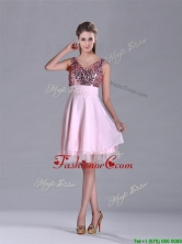 Latest V Neck Sequined Decorated Bodice Dama  Dress in Baby Pink THPD113FOR