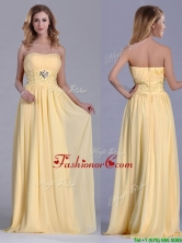 Lovely Empire Yellow Long Dama Dress with Beading and Ruching THPD186FOR