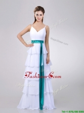 Lovely White Dama Dress with Ruffled Layers and Turquoise Belt THPD109FOR