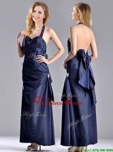 Luxurious Beaded Decorated Halter Top Dama Dress in Navy Blue THPD215FOR