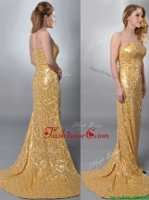 Luxurious Column Strapless Sequined Gold Dama Dress with Brush Train THPD006FOR