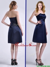 Luxurious Strapless Zipper Up Ruched Dama Dress in Navy Blue THPD315FOR