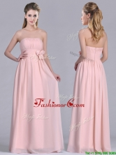 Modern Chiffon Handcrafted Flowers Long Dama Dress in Baby Pink THPD022FOR