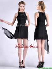 Modern Scoop Asymmetrical Black Chiffon Dama Dress with Beading THPD020FOR