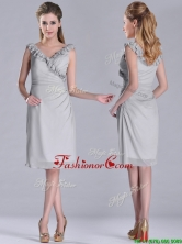 Modest V Neck Grey Chiffon Short Dama Dress with Side Zipper THPD130FOR