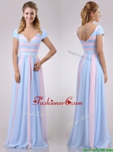 New Deep V Neckline Chiffon Dama Dress in Baby Pink and Light Blue THPD185FOR