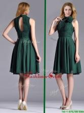 New High Neck Handmade Flower Dark Green Dama Dress with Open Back THPD303FOR