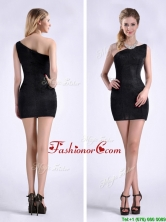 New Style Black One Shoulder Column Dama Dress with Zipper Up THPD089FOR