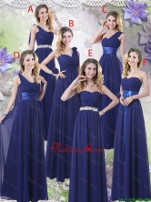 New Style Empire Floor Length Dama Dresses in Navy Blue BMT059FOR