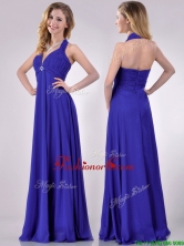 New Style Halter Top Zipper Up Long Dama Dress in Blue THPD164FOR