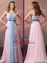 New Style Spaghetti Straps Beaded and Bowknot Dama Dress with Brush Train THPD327FOR