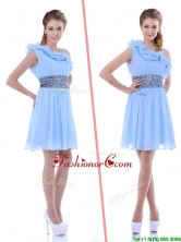 One Shoulder Light Blue Dama Dress with Beaded Decorated Waist and Ruffles THPD052FOR