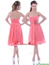 Popular Empire Chiffon Ruched Watermelon DamaDress in Knee Length THPD057FOR