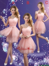 Popular One Shoulder and Belt Dama Dresses in Pink BMT064CFOR