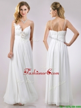 Popular Spaghetti Straps Applique and Ruched Dama Dress in White THPD011FOR