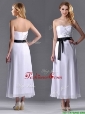 Popular Tea Length White Dama Dress with Appliques and Belt THPD250FOR