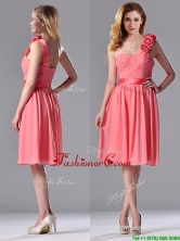 Popular Watermelon Dama Dress with Hand Made Flowers Decorated One Shoulder THPD243FOR