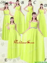 Pretty Empire Floor Length Belt Dama Dresses in Yellow Green for 2016 Spring BMT008-10FOR
