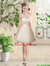 Pretty One Shoulder Champagne Dama Dresses with Appliques BMT035EFOR