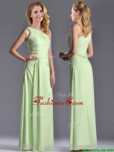 Pretty One Shoulder Side Zipper Yellow Green Dama Dress with Ruching THPD236FOR