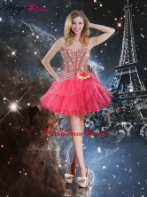 Pretty Short Sweetheart Dama Dresses with Beading and Hand Made Flowers QDDTA105003FOR