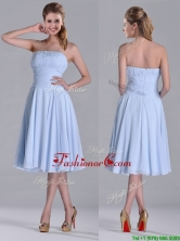 Pretty Strapless Chiffon Ruched Lavender Dama Dress in Tea Length THPD004FOR